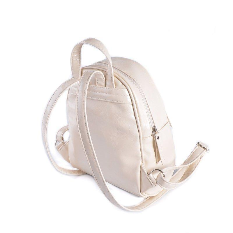 Маленький женский рюкзак из эко-кожи, мини рюкзак молочный - Фото 3