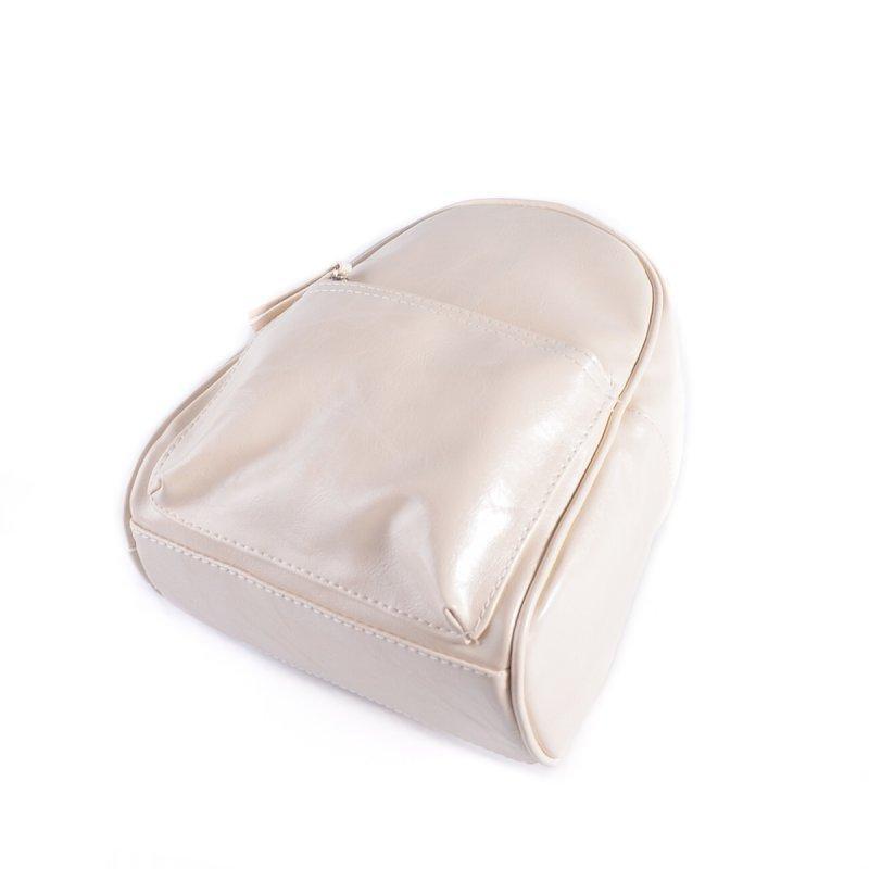 Маленький женский рюкзак из эко-кожи, мини рюкзак молочный - Фото 4