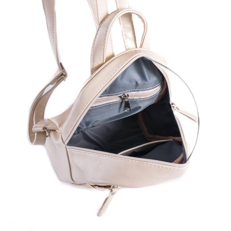 Маленький женский рюкзак из эко-кожи, мини рюкзак молочный - Фото 5