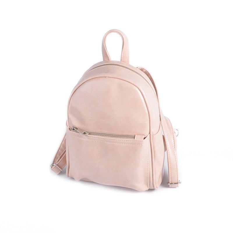 Маленький женский рюкзак из эко-кожи, мини рюкзак пудра - Фото 3