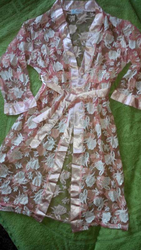 Пляжный халатик персикового цвета - Фото 2