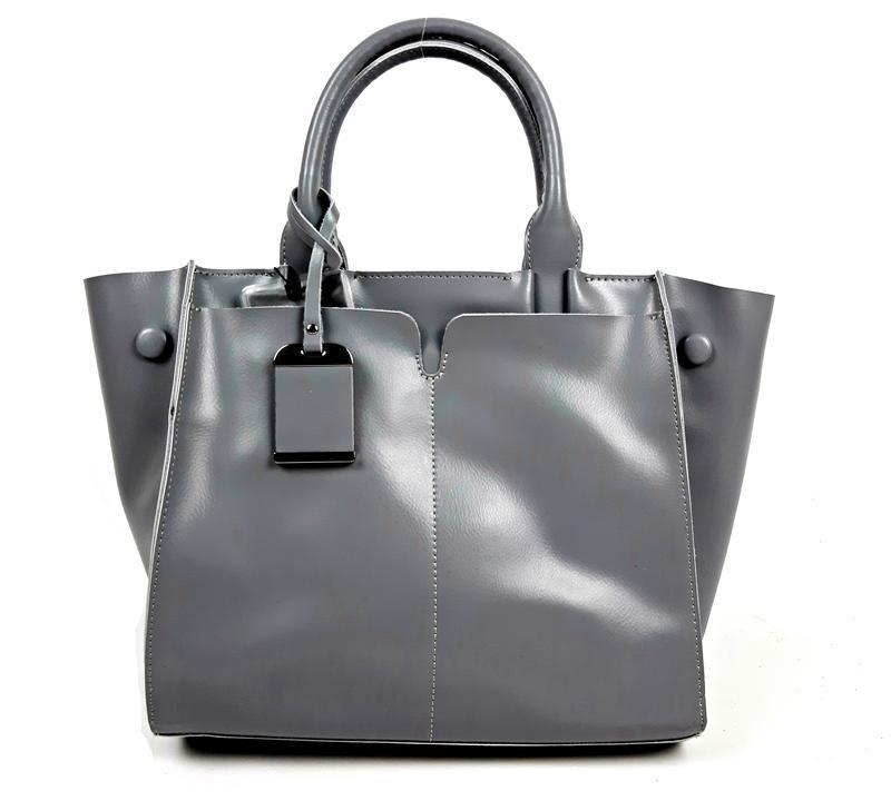 Серая большая женская сумка из натуральной кожи, galanty