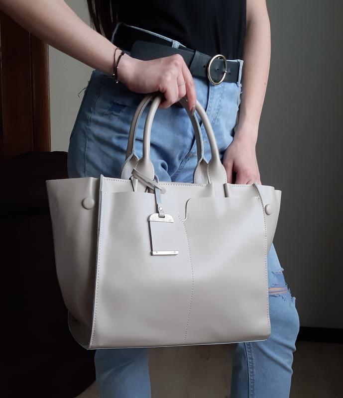 Серая большая женская сумка из натуральной кожи, galanty - Фото 4