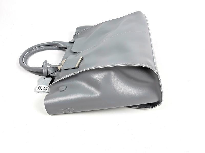 Серая большая женская сумка из натуральной кожи, galanty - Фото 5