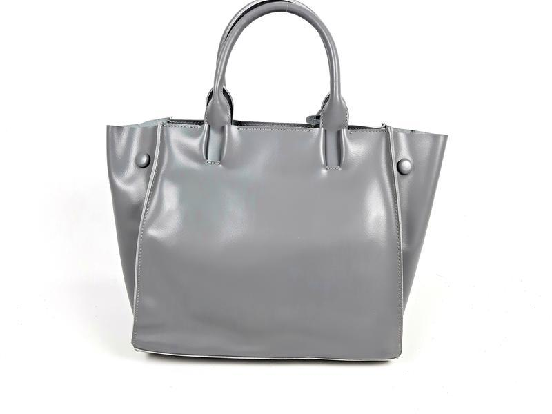 Серая большая женская сумка из натуральной кожи, galanty - Фото 7