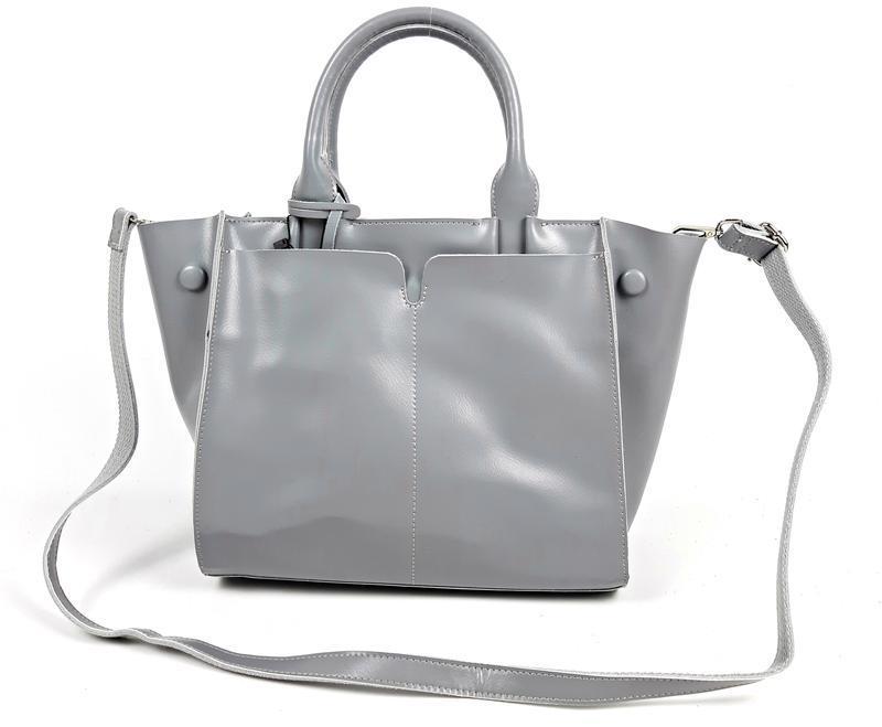 Серая большая женская сумка из натуральной кожи, galanty - Фото 8
