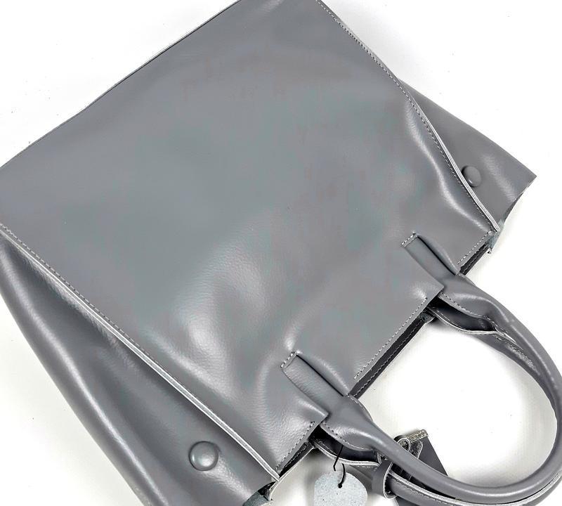 Серая большая женская сумка из натуральной кожи, galanty - Фото 9