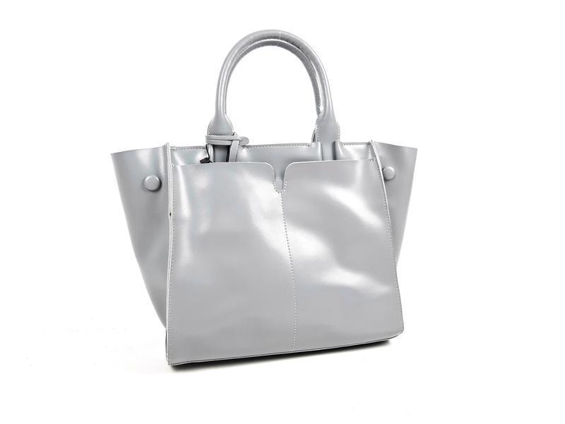 Серая большая женская сумка из натуральной кожи, galanty - Фото 10