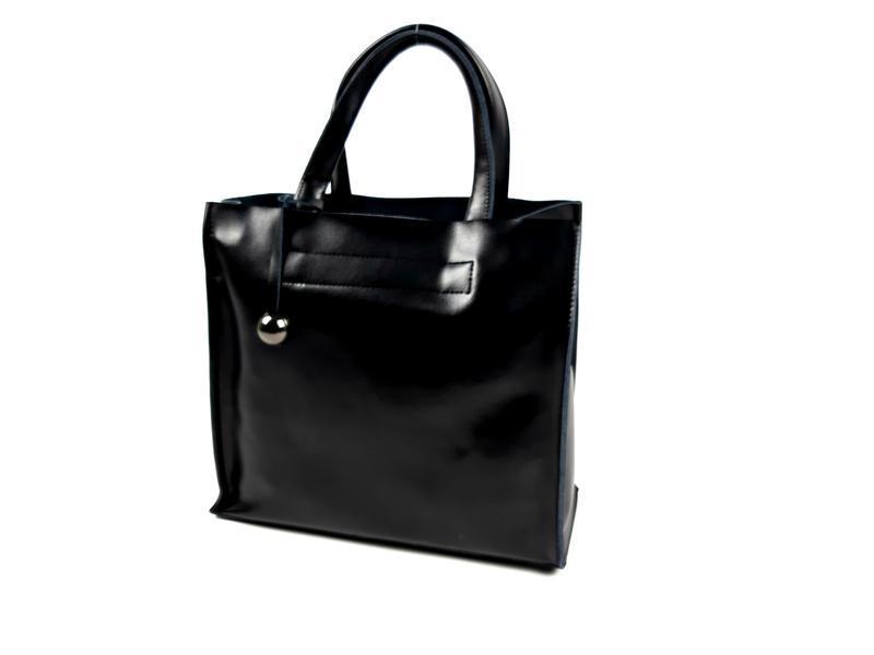 Черная кожаная женская сумка шоппер, galanty - Фото 2