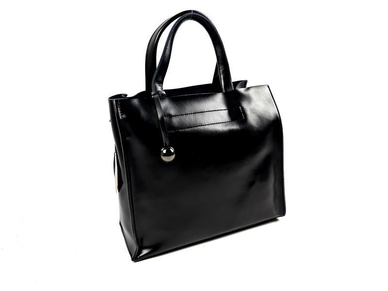 Черная кожаная женская сумка шоппер, galanty