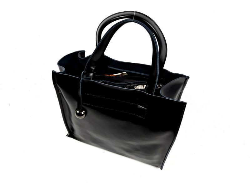 Черная кожаная женская сумка шоппер, galanty - Фото 3