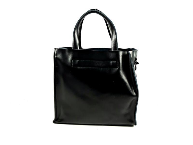 Черная кожаная женская сумка шоппер, galanty - Фото 4