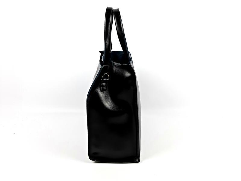 Черная кожаная женская сумка шоппер, galanty - Фото 6