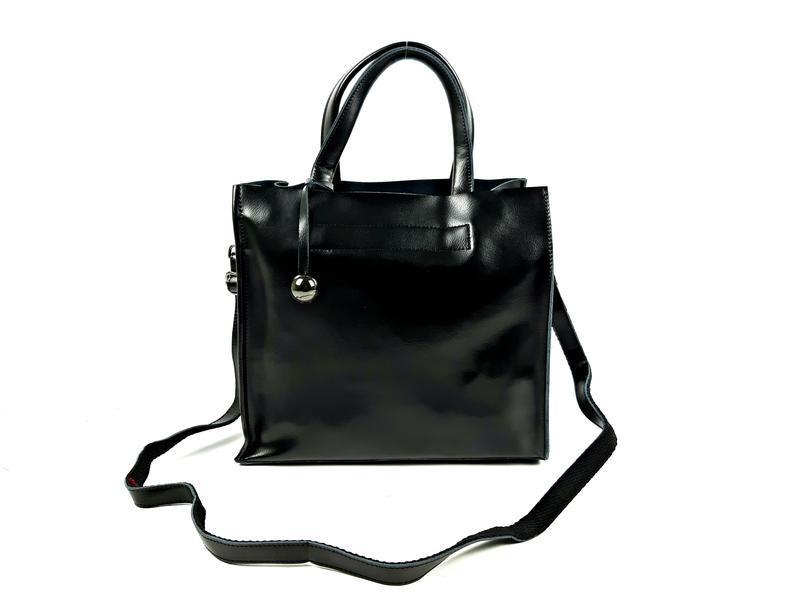 Черная кожаная женская сумка шоппер, galanty - Фото 7