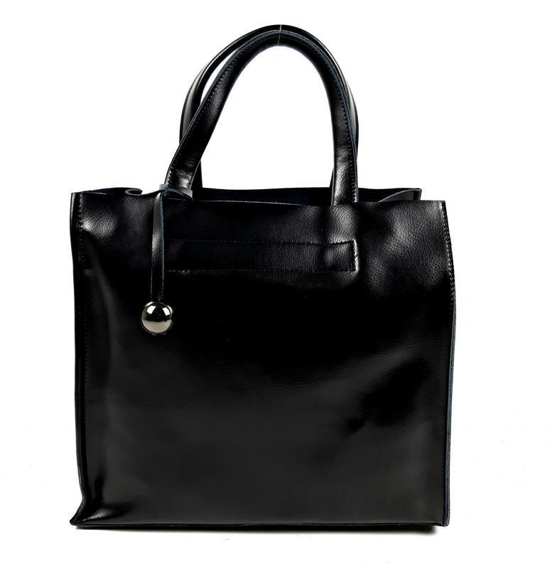 Черная кожаная женская сумка шоппер, galanty - Фото 8