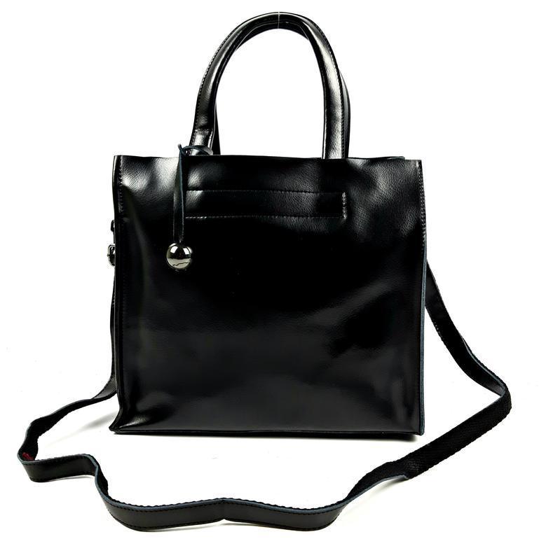 Черная кожаная женская сумка шоппер, galanty - Фото 9