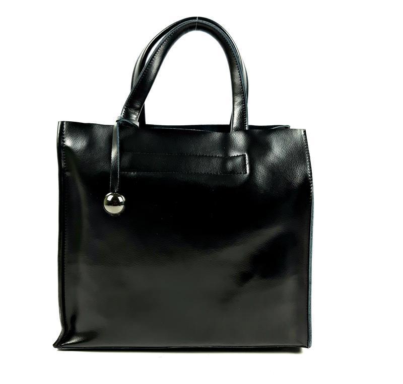 Черная кожаная женская сумка шоппер, galanty - Фото 10