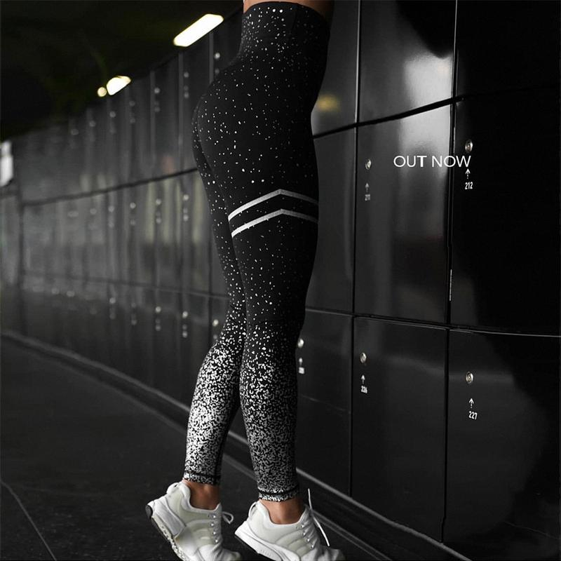 Лосины спортивные, леггинсы для спорта: Черные - Фото 6