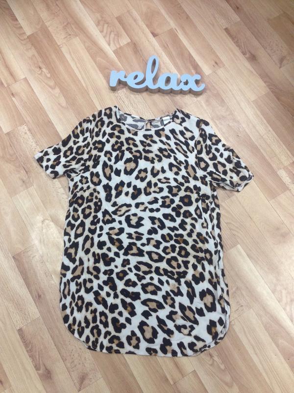H&m леопардовая блузка футболка с разрезиками
