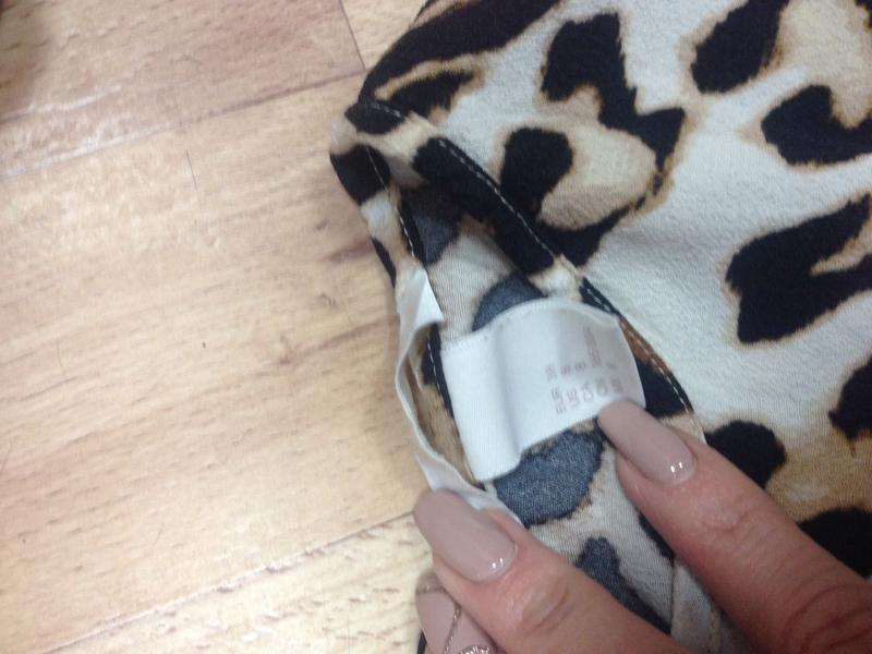 H&m леопардовая блузка футболка с разрезиками - Фото 2