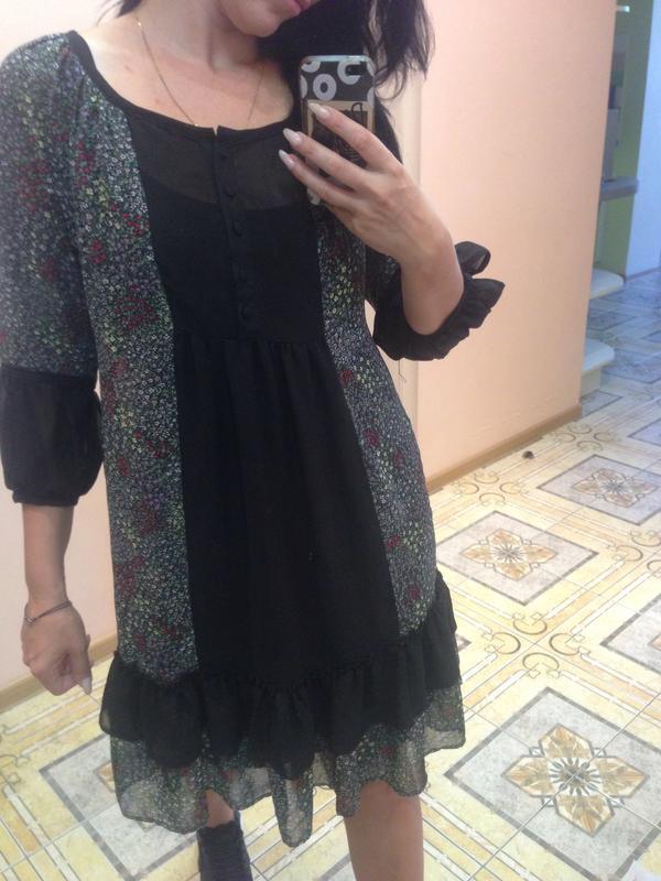 Шифоновое платье с рюшами на купальник
