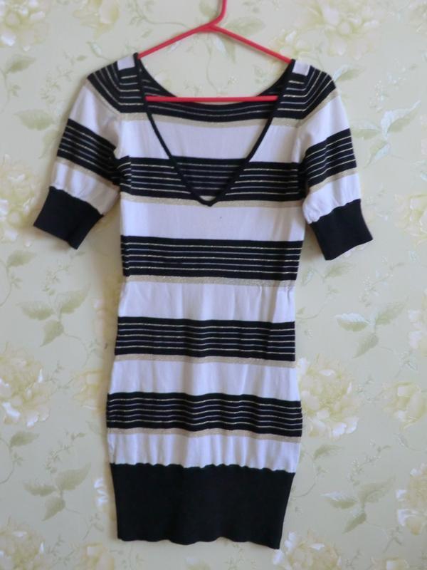 Полосатое платье мини - Фото 3