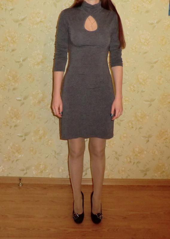 Трикотажное серое платье миди от bonprix - Фото 3