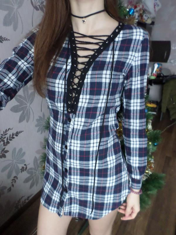 Платье/туника/рубашка на шнуровке