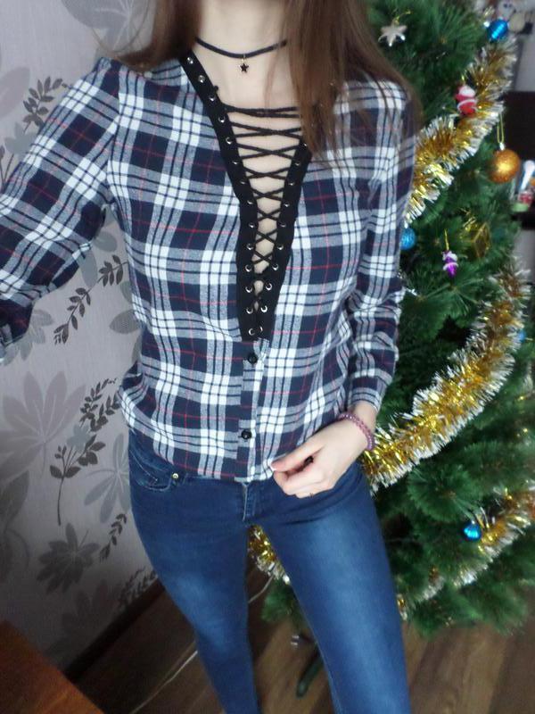 Платье/туника/рубашка на шнуровке - Фото 2