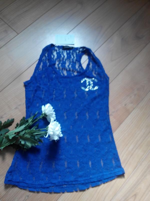 Майка борцовка синяя гипюровая кружевная fashion club. новая, ... - Фото 3