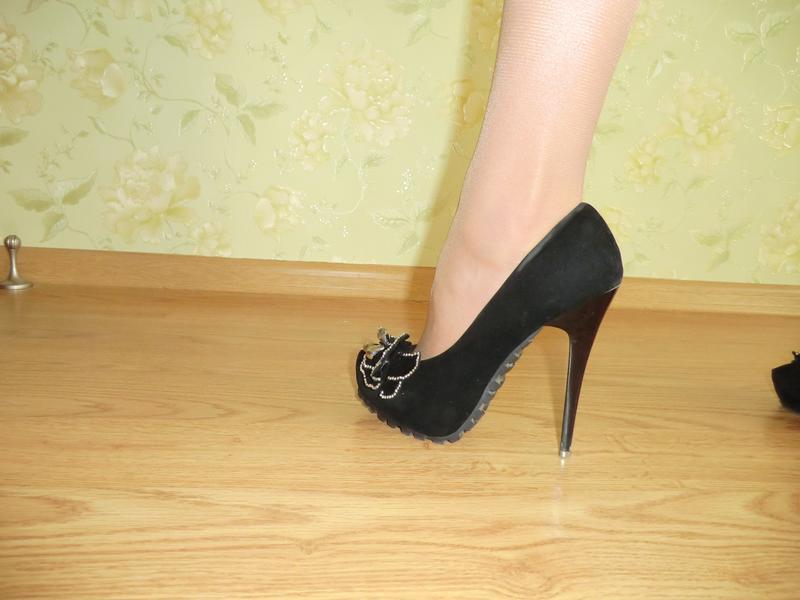 Черные туфельки искуственная замша - Фото 2