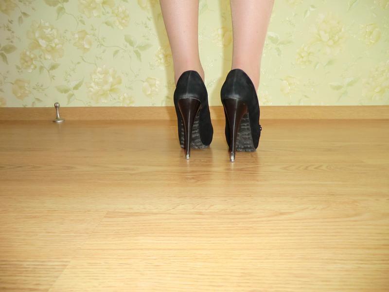 Черные туфельки искуственная замша - Фото 3