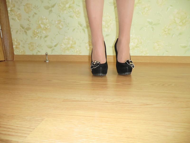 Черные туфельки искуственная замша - Фото 4