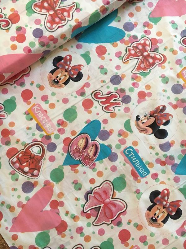 Детский постельный комплект полуторный с минни маус - Фото 2