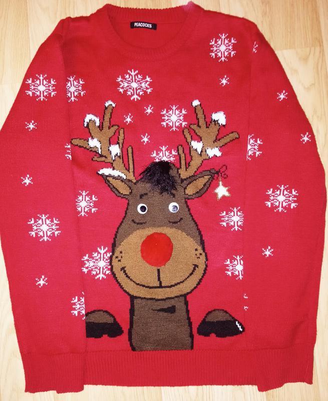 Крутой новогодний свитер .глазки подвижные