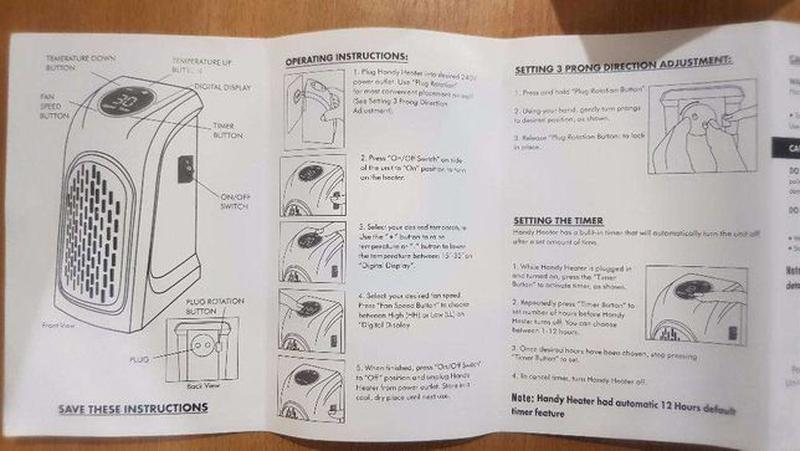Обогреватель керамика тепловентилятор Handy Heater печка тепли... - Фото 8