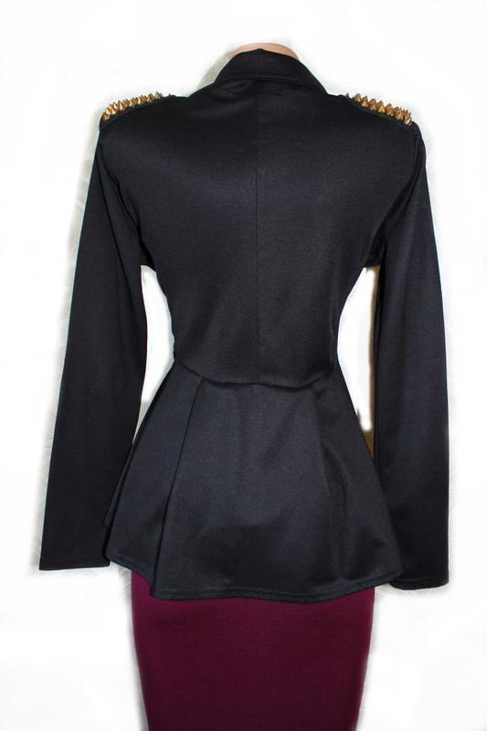 Крутой пиджак жакет а-ля с баской и шипами / buzy collection, m/l - Фото 3