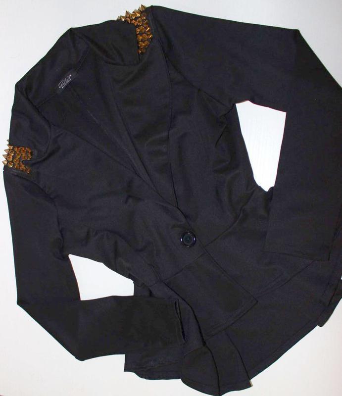 Крутой пиджак жакет а-ля с баской и шипами / buzy collection, m/l - Фото 4