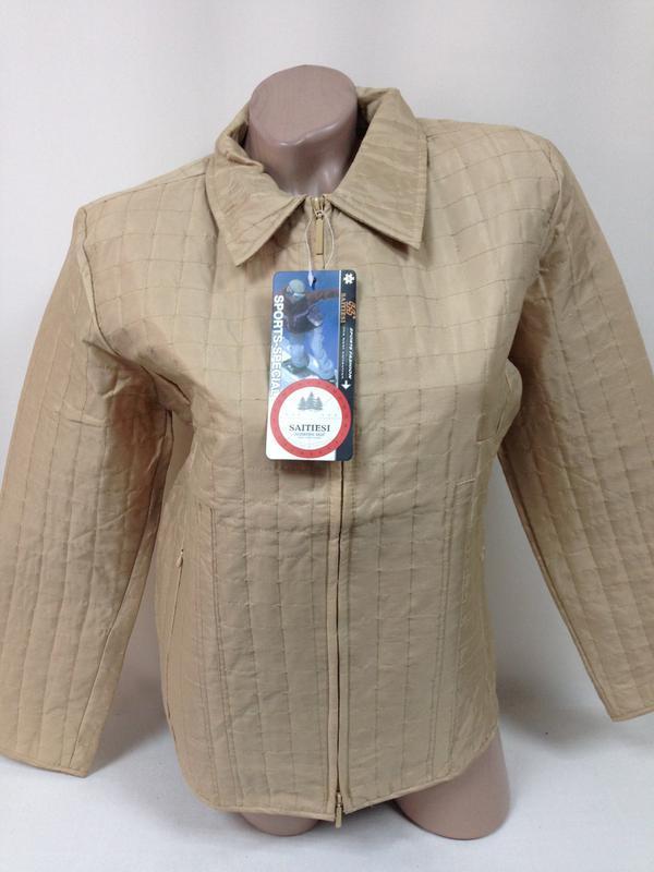 Куртка ветровка пиджак жакет стеганая плащевка беж на замке / м