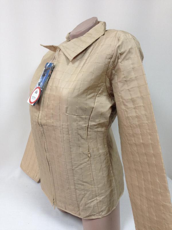 Куртка ветровка пиджак жакет стеганая плащевка беж на замке / м - Фото 2