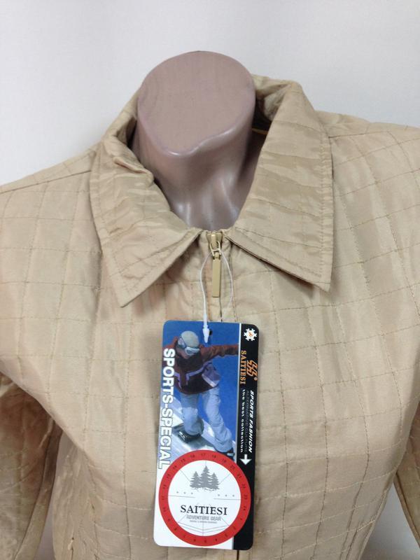 Куртка ветровка пиджак жакет стеганая плащевка беж на замке / м - Фото 4