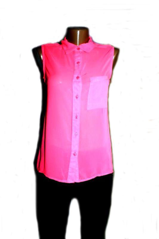 Блуза рубашка без рукавов неоновый розовый