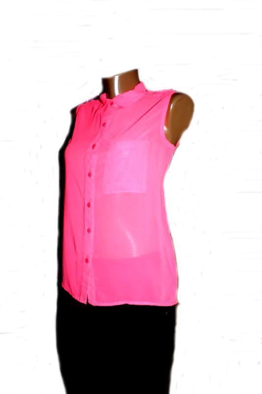 Блуза рубашка без рукавов неоновый розовый - Фото 2