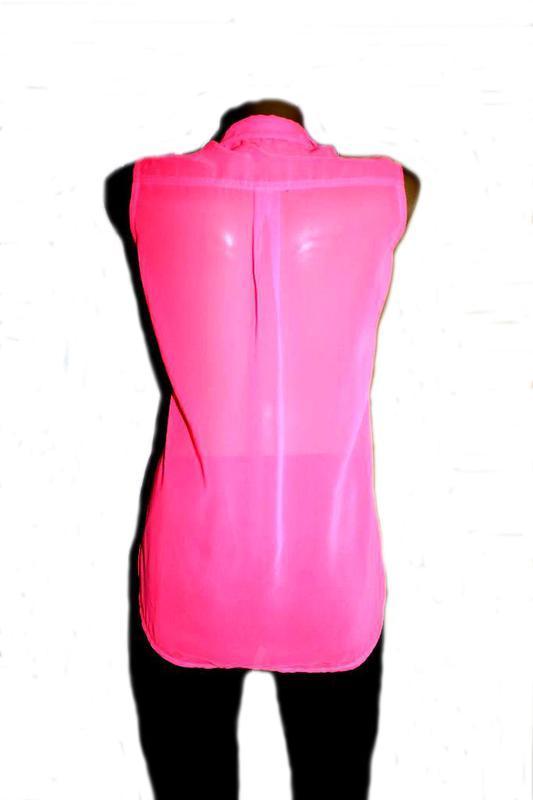 Блуза рубашка без рукавов неоновый розовый - Фото 3