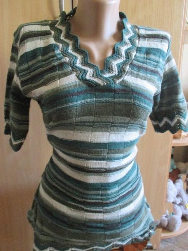 Блуза кофточка трикотаж в рубчик / полоска / канты в елочку / ...