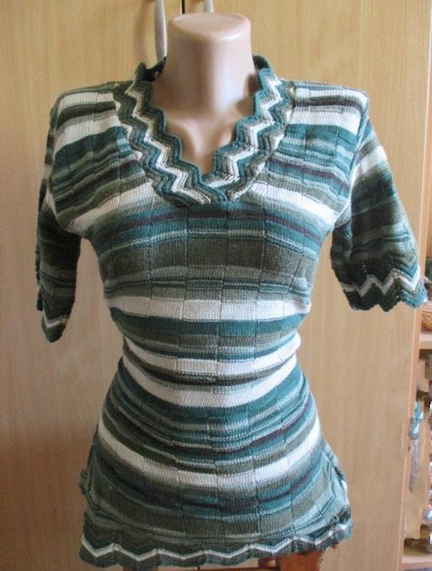 Блуза кофточка трикотаж в рубчик / полоска / канты в елочку / ... - Фото 2