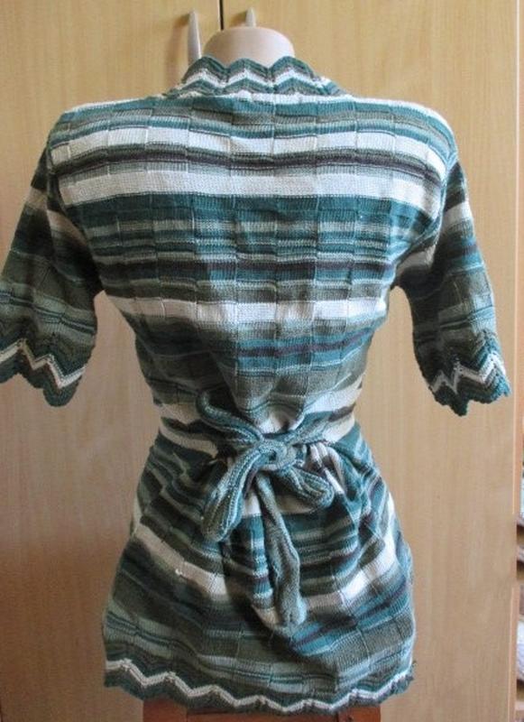 Блуза кофточка трикотаж в рубчик / полоска / канты в елочку / ... - Фото 4