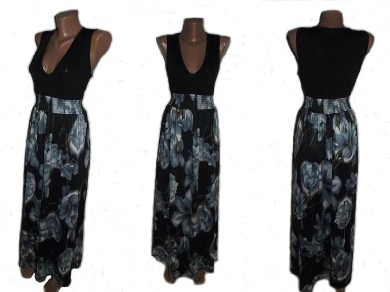 Сарафан / макси платье / в пол в 3d принт цветов / микромасло ...