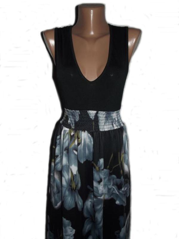 Сарафан / макси платье / в пол в 3d принт цветов / микромасло ... - Фото 2