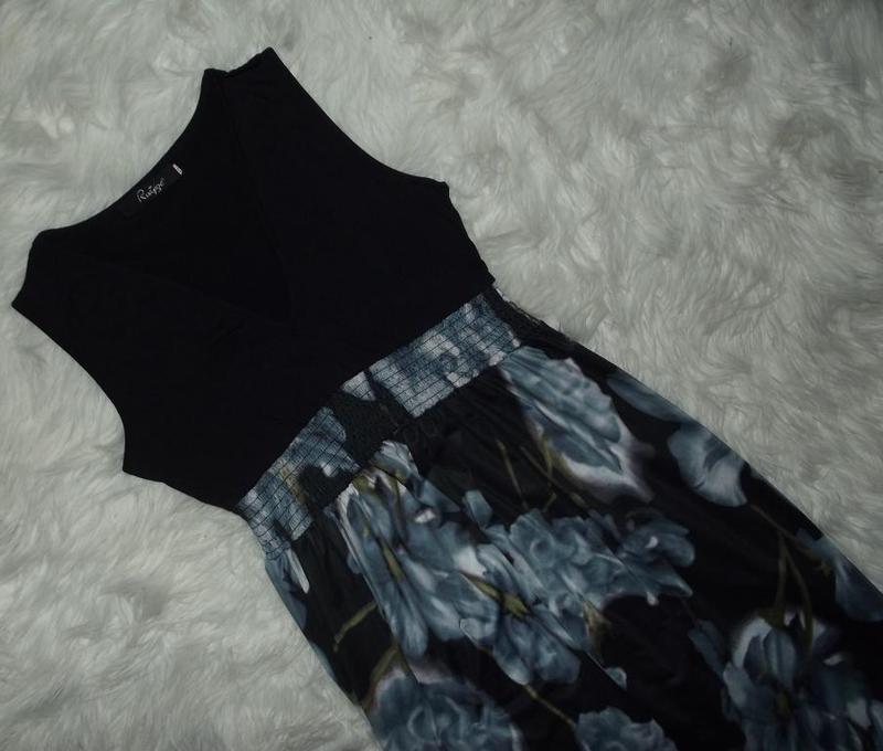 Сарафан / макси платье / в пол в 3d принт цветов / микромасло ... - Фото 3